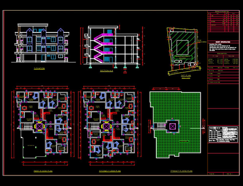 multistory building plan section elevation planning of bungalow ...